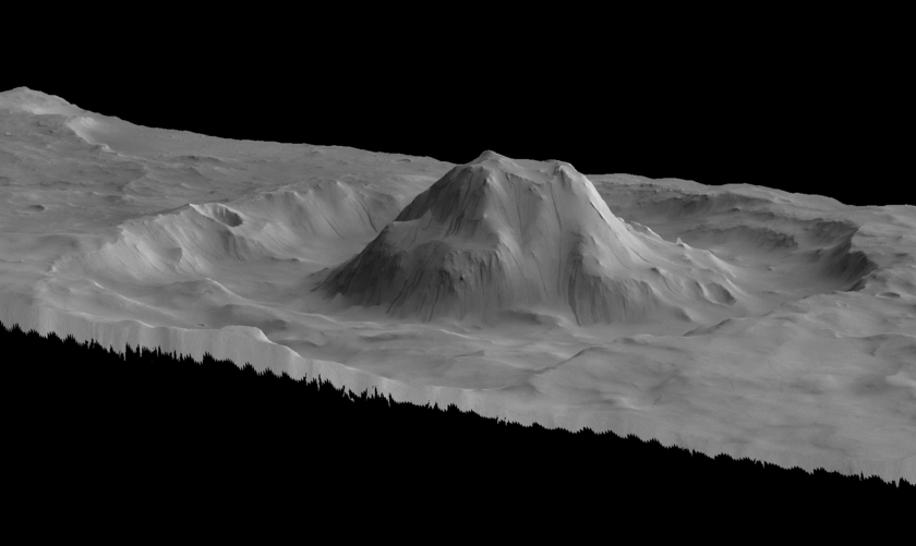 Crater with central mound (perspective view)