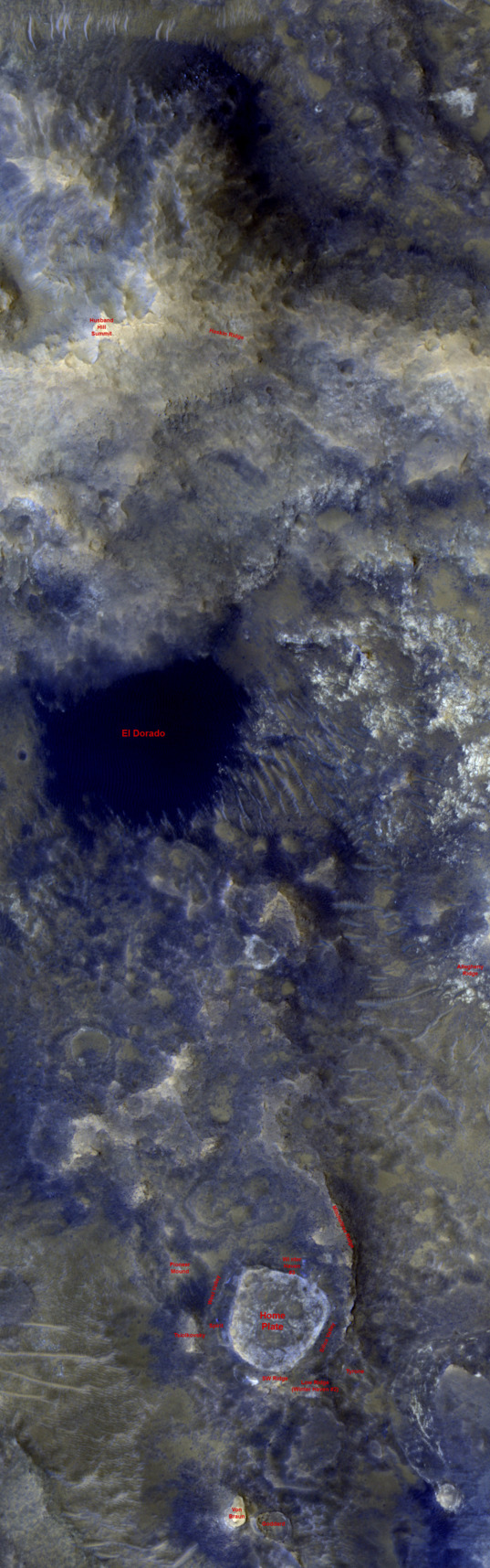 The Inner Basin and Home Plate from HiRISE, July 16, 2009 (labeled)