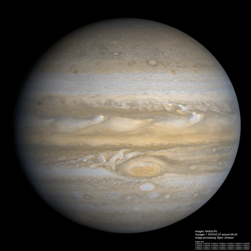 High-resolution global view of Jupiter from Voyager 1
