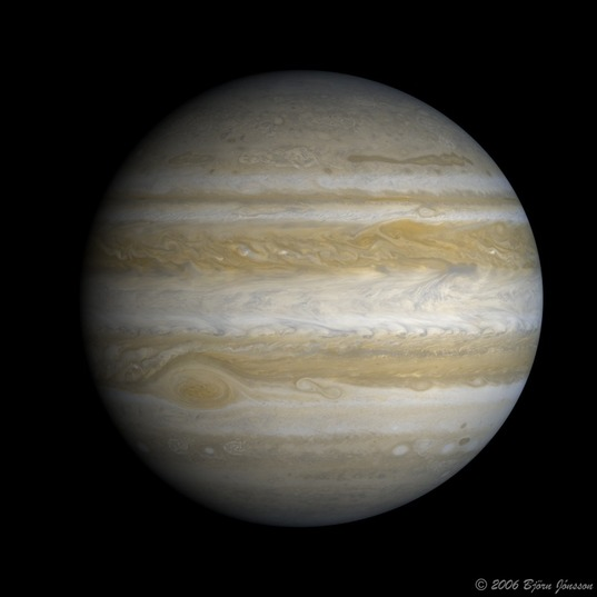Rendering of Jupiter, from Cassini data