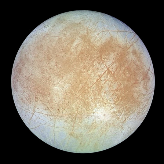 Europa in color: trailing hemisphere (Galileo, 7 September 1996)