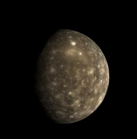 Callisto in color from Galileo orbit C3 (reconstructed)
