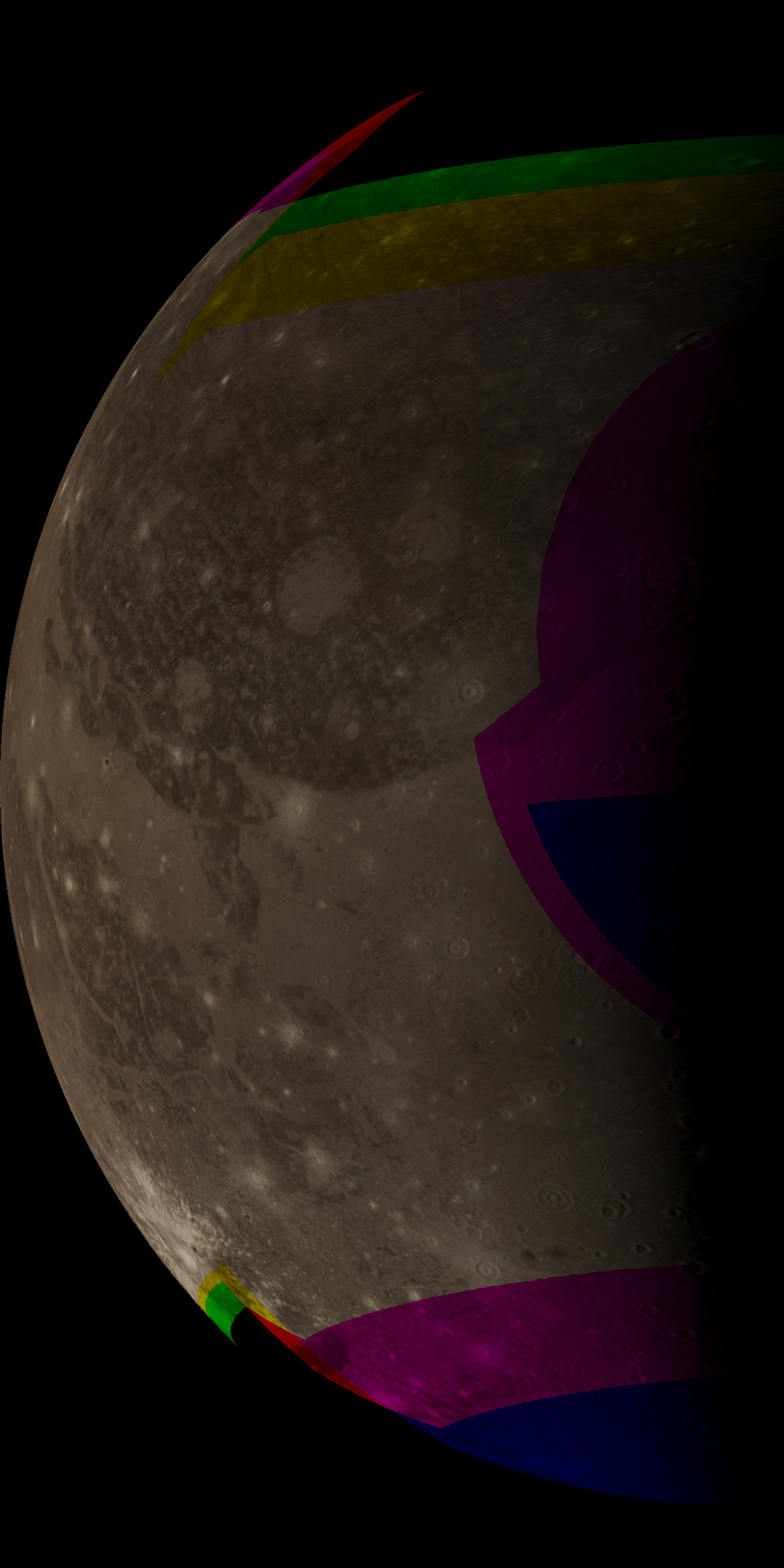 Ganymede's leading hemisphere from Voyager 2