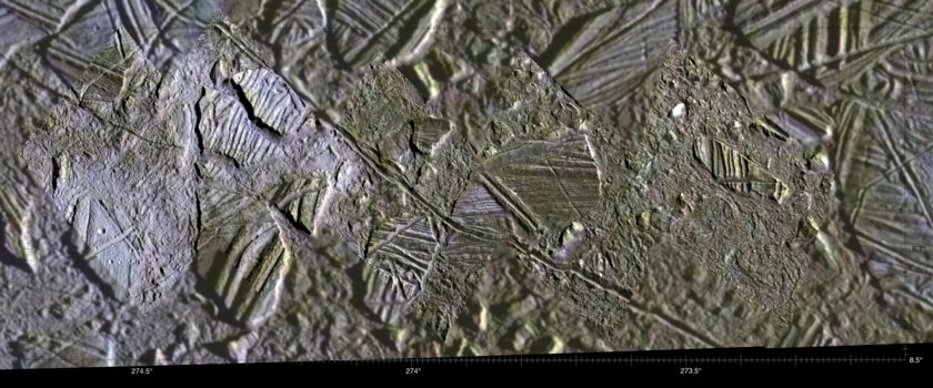 High-Resolution Mosaic of Conamara Chaos, Europa Inset in Lower-Resolution Color Data