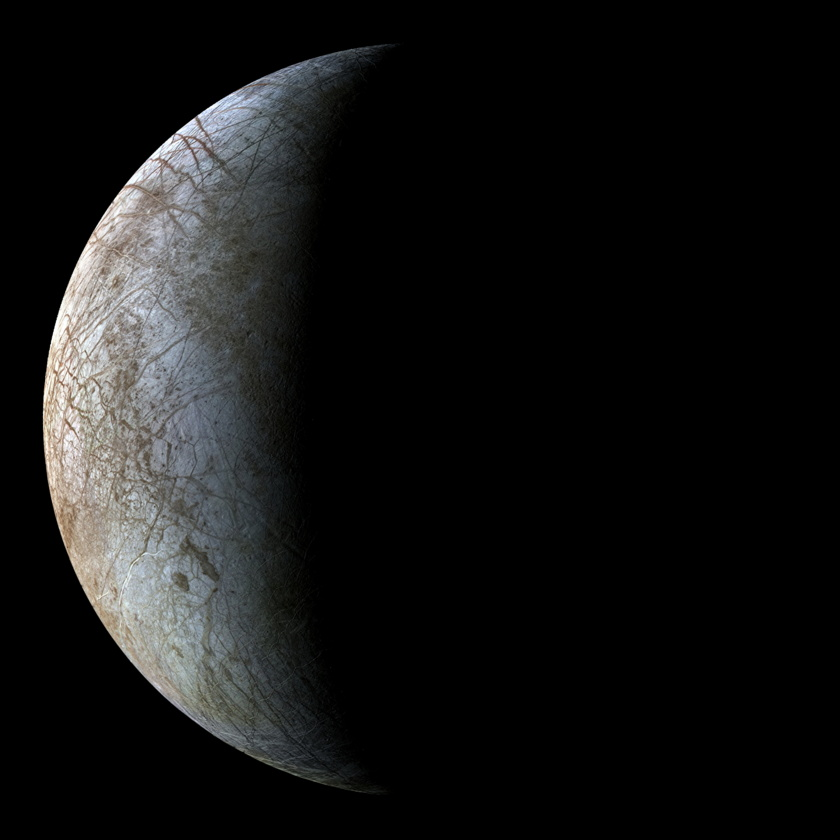 Crescent of Europa from Voyager 2