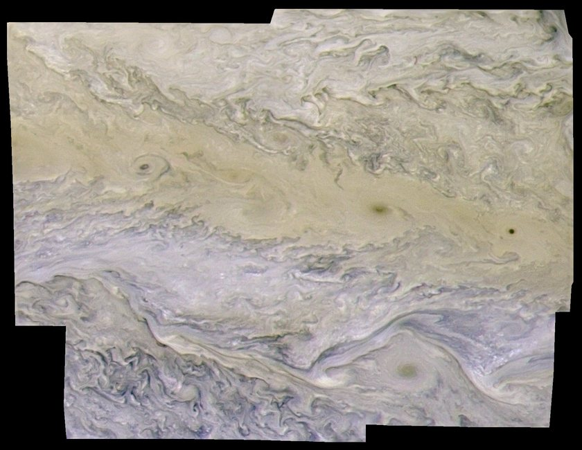 Swirling clouds in Jupiter's north