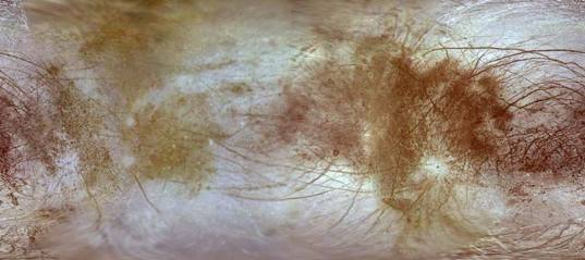 Here is the surface of Europa; guess where the sulfur is hitting!