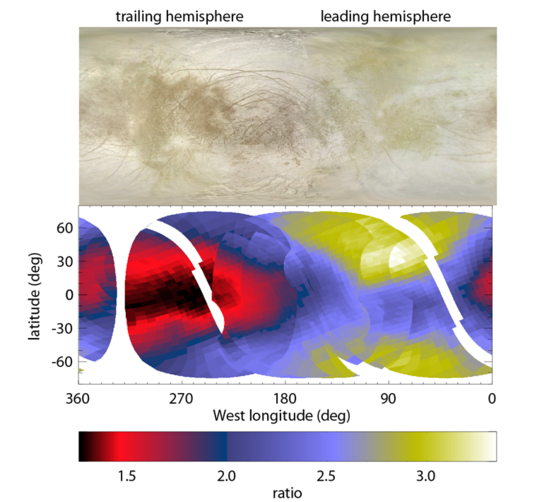 Map of non-water-ice material on Europa