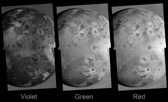 Io through three different filters