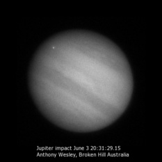 Jupiter and bright spot on June 3, 2010