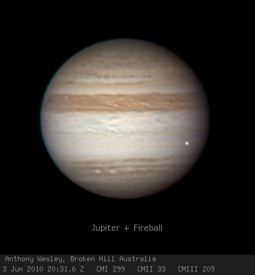 Jupiter on June 3, 2010: Impact flash recorded by Anthony Wesley