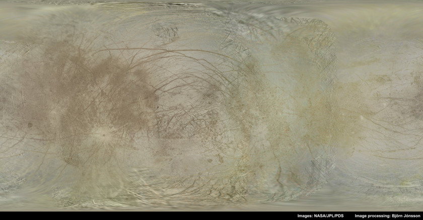 Björn Jónsson's color global map of Europa from Galileo and Voyager data