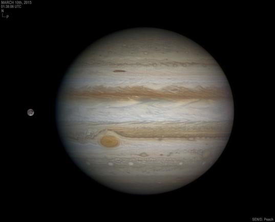 Jupiter and Ganymede on March 10, 2015