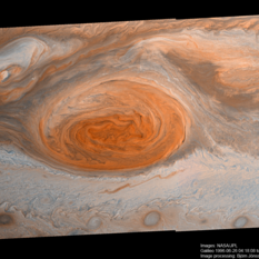 Jupiter's Great Red Spot Galileo Anniversary Mosaic 1, enhanced color