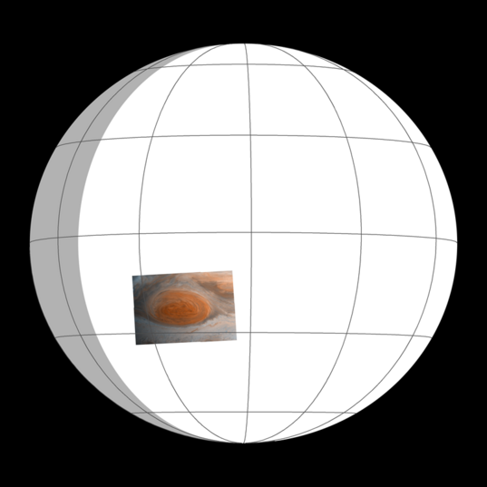 Viewing geometry for Jupiter's Great Red Spot Galileo Anniversary Mosaic 2