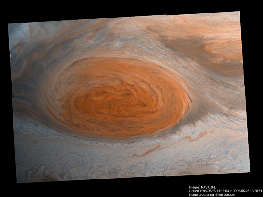 Jupiter's Great Red Spot Galileo Anniversary Mosaic 2