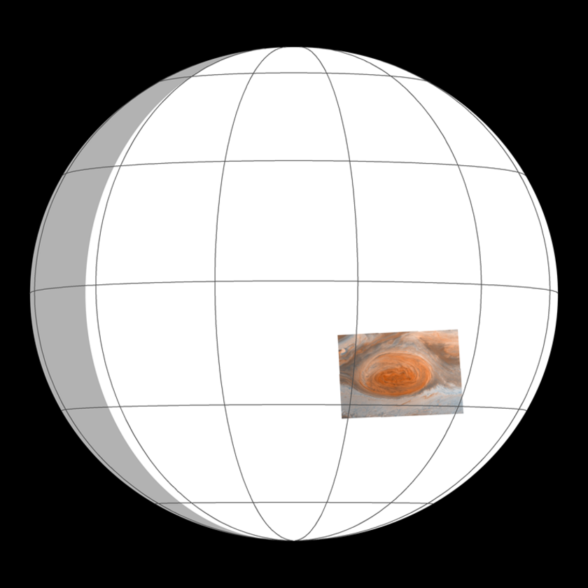 Viewing geometry for Jupiter's Great Red Spot Galileo Anniversary Mosaic 3