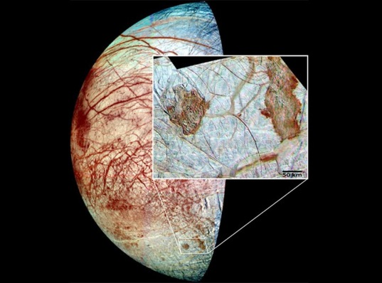 Europa as imaged by NASA's Galileo spacecraft in the 1990s