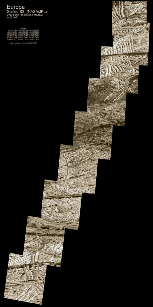 High-resolution Galileo mosaic of Europa