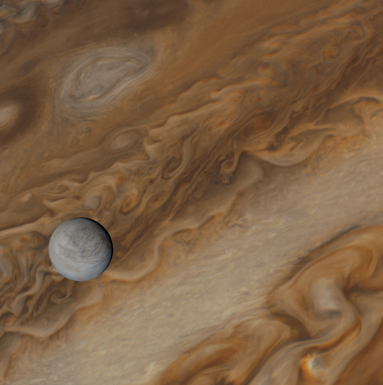 Europa over Jupiter by Voyager 1