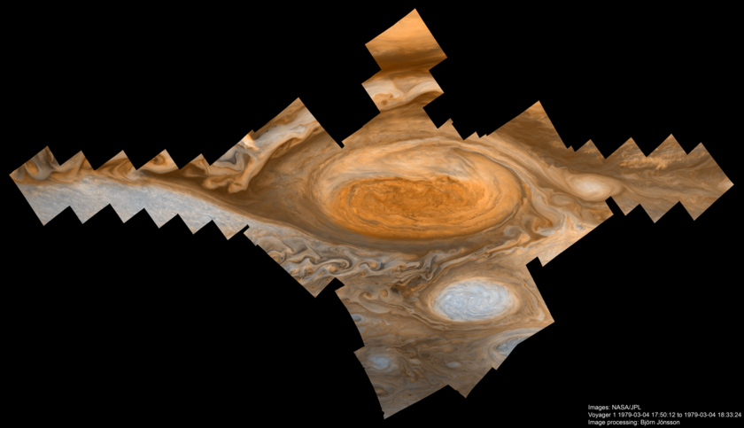 'Cross sequence' of the Great Red Spot (exaggerated color)