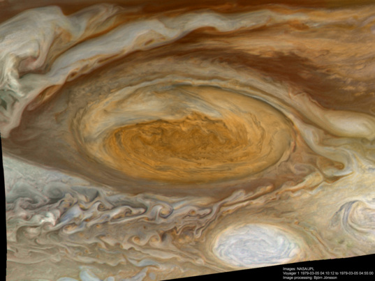 Highest resolution Voyager 1 color view of the Great Red Spot
