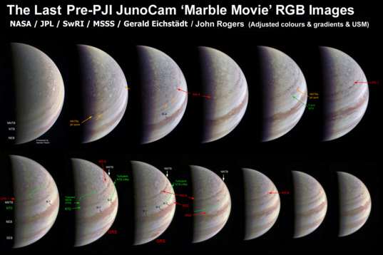 Juno's complete rotation pre-perijove sequence, labeled