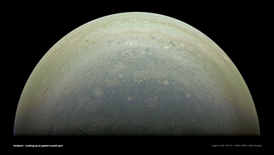 Jupiter's south pole from Juno (27 August 2016, perijove 1)