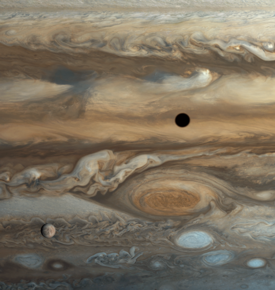 Europa over Jupiter's Great Red Spot