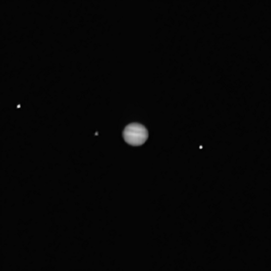 OSIRIS-REx PolyCam view of Jupiter and 3 moons