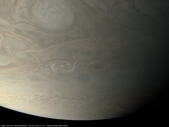 Jupiter in approximate true color during Juno perijove 4
