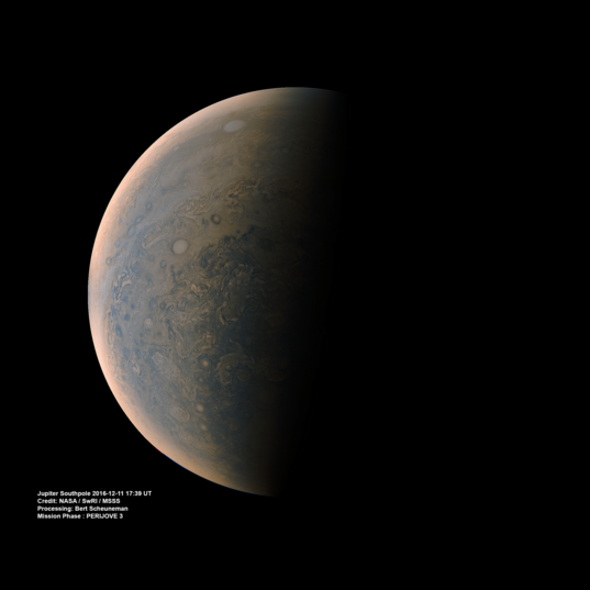 Jupiter's south pole from Juno (11 December 2016, perijove 3)