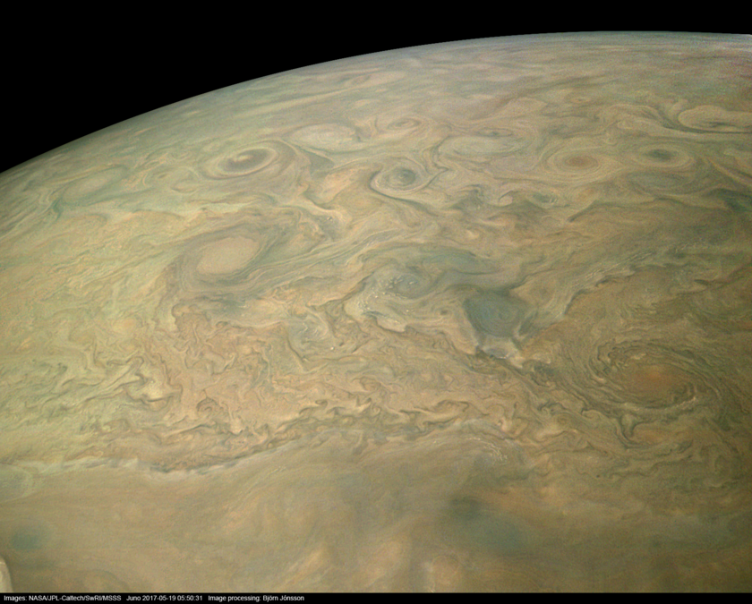 Northern limb of Jupiter from Juno (sharpened)