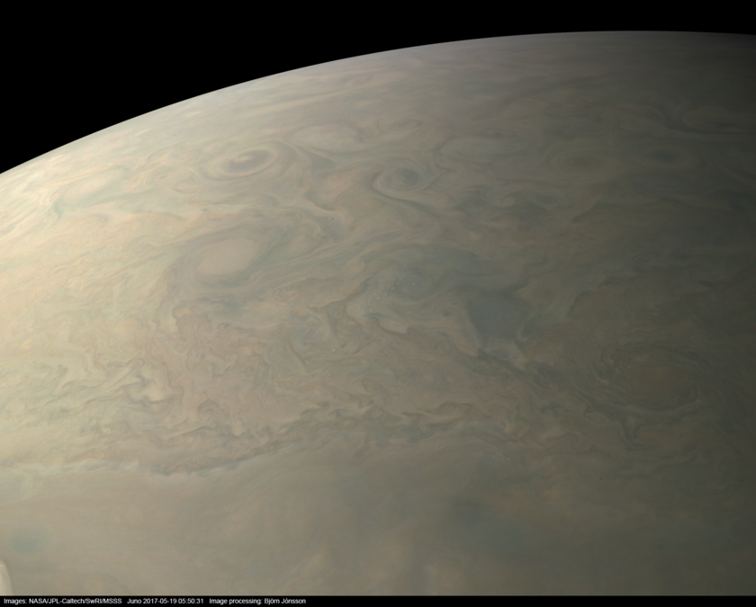 Southern limb of Jupiter from Juno