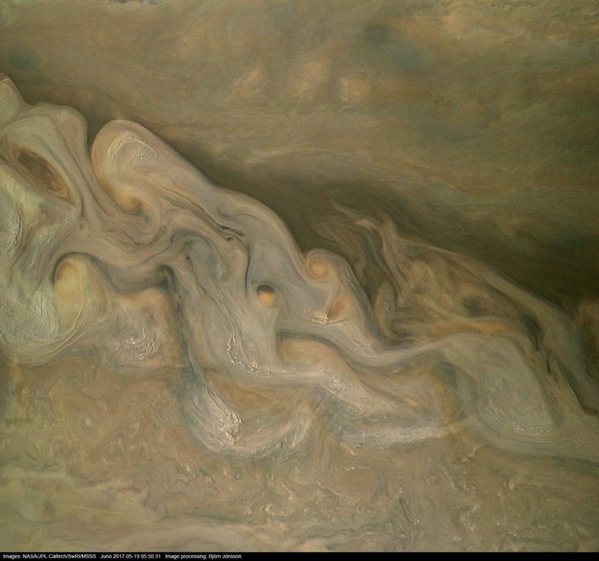 Jovian storms viewed by Juno (19 May 2017, enhanced)