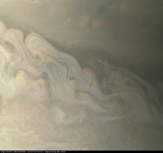 Jovian storms viewed by Juno (19 May 2017)