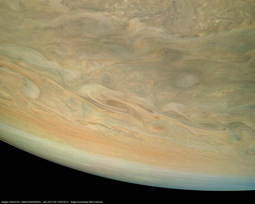 Southern limb of Jupiter from Juno (enhanced)