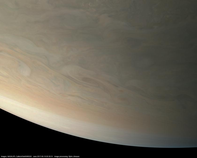 Northern limb of Jupiter from Juno