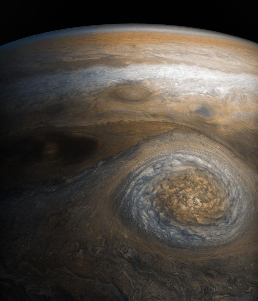 Jupiter from Juno's seventh perijove (detail)