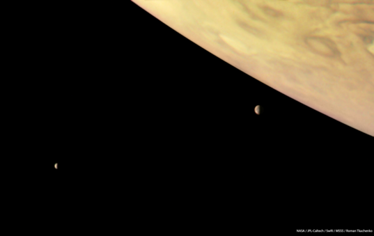Jupiter, Io, and Europa from Juno