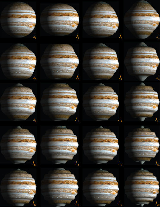 The first 20 zonal spherical harmonic shapes on Jupiter
