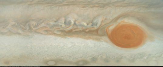 Jupiter's Great Red Spot and Wake from Juno