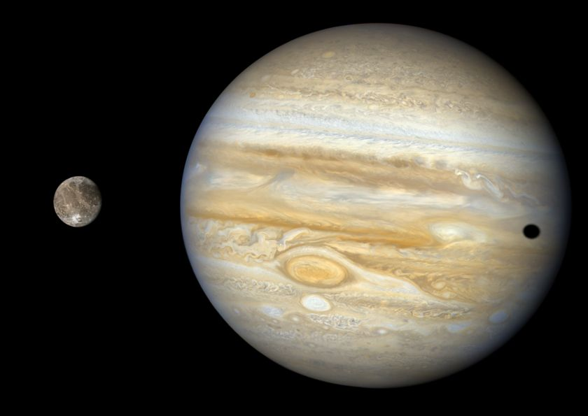 Ganymede and Jupiter Global Voyager 2 Mosaic