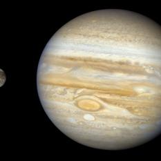 Ganymede and Jupiter Global Voyager 2 Mosaic