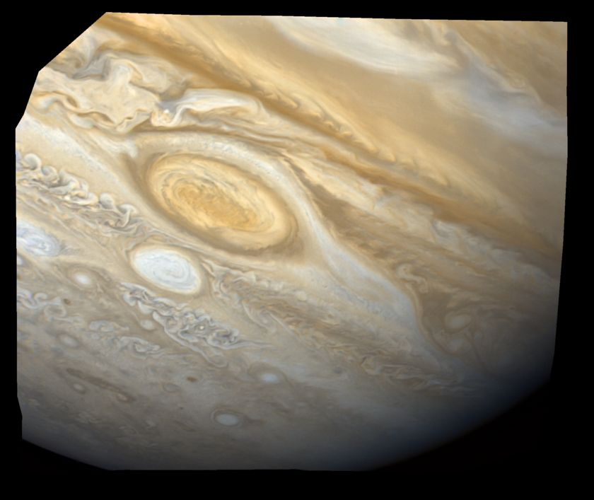 Great Red Spot and a white oval from Voyager 2