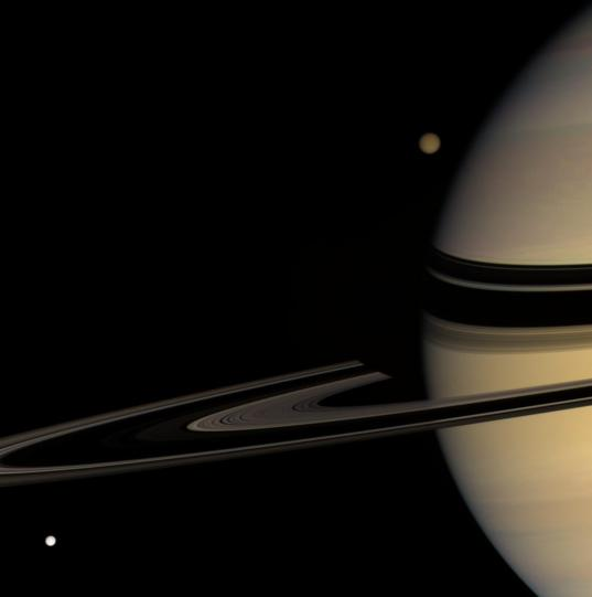 Saturn, Tethys, and Titan