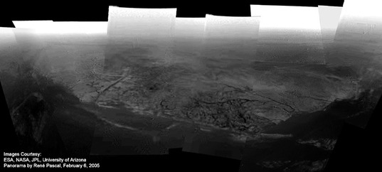 Panorama of the channels at the Huygens landing site