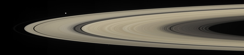 Saturn's rings, Mimas, Pan, and Prometheus