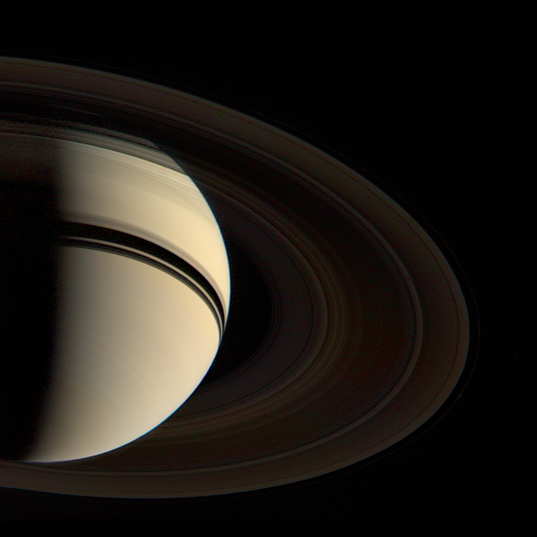 Voyager 2's departure shot of Saturn