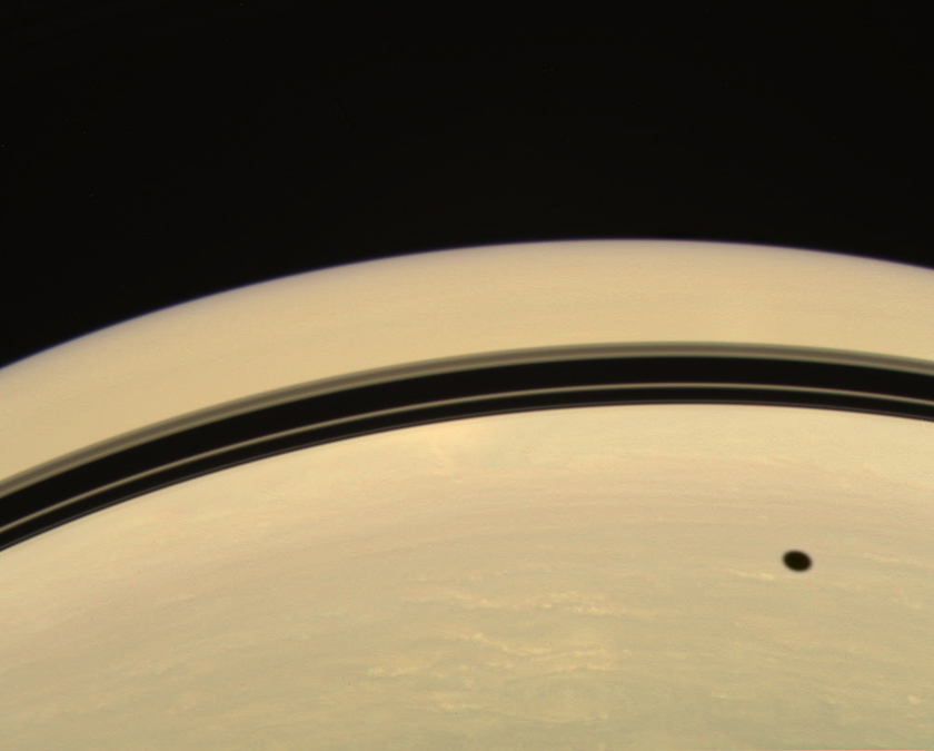 Lines and circles in shadows on Saturn